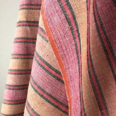 fair trade handwoven cotton multi red wide stripe