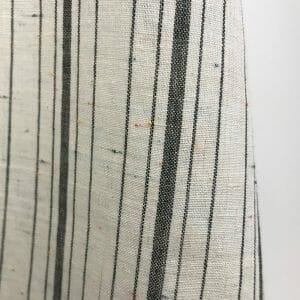 sustainable white black stripe cotton with multi-colour flecks