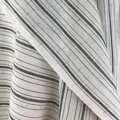 sustainable white black stripe cotton with multi-colour flecks