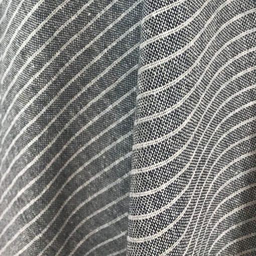 ethical handwoven fabric dark blue grey stripe