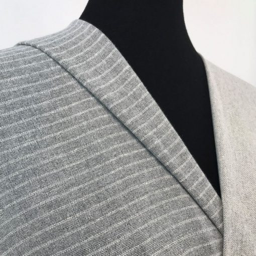sustainable handwoven fabric recycled yarn grey stripe