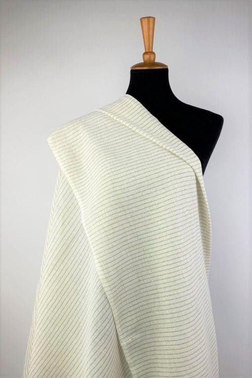 eco friendly fabric recycled yarn off white pale grey stripe