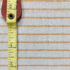 ethical fabric recycled yarn off white mustard stripe