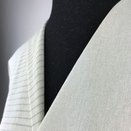 ethical fabric recycled yarn soft grey off white