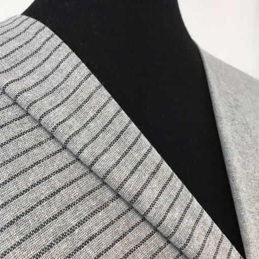 sustainable handwoven fabric recycled yarn grey dark blue stripe