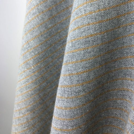 ethical textiles recycled yarn grey turmeric yellow stripe
