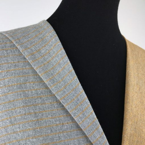 ethical textiles recycled yarn grey turmeric yellow stripe plain