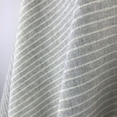 handwoven fabric recycled yarn dove grey stripe