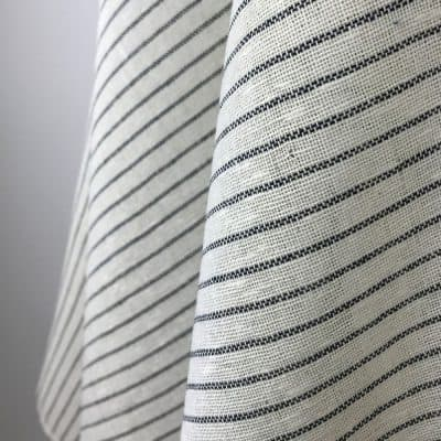 handwoven fabric recycled yarn natural deep blue stripe