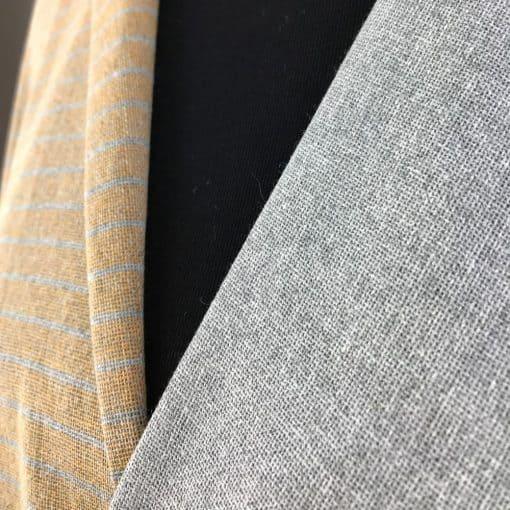 handwoven textiles recycled yarn flint grey and turmeric