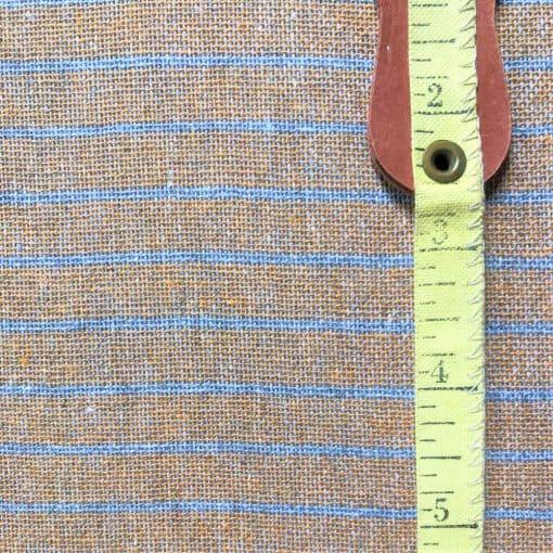 sustainable fabric recycled yarn turmeric grey stripe
