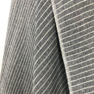 sustainable handwoven recycled yarn grey dark blue stripe