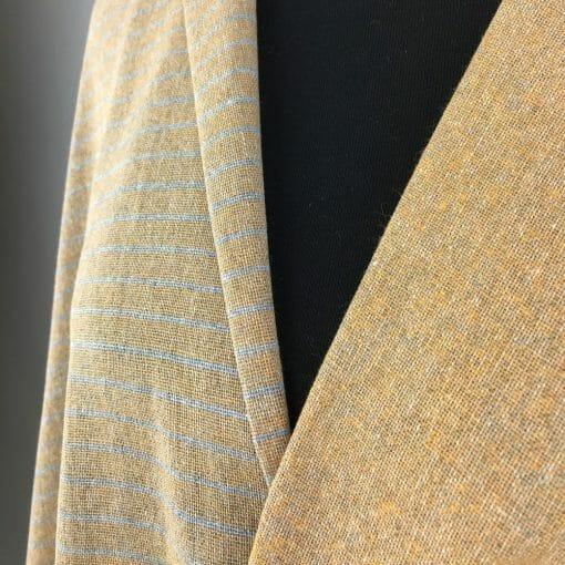 sustainable textiles recycled yarn mustard grey stripe plain