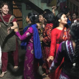 Girls together having fun Bollywood dancing