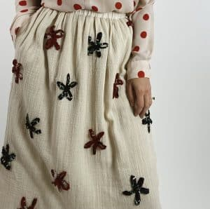 Mrs Emily skirt with Sustainable fabric made with recycled sari ribbon